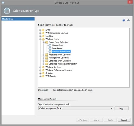 201311-Create Unit Monitor in SCOM - Windows Event Reset