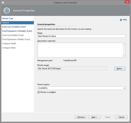 Create Unit Monitor in SCOM - Create Monitor 2