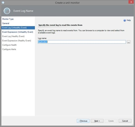 Create Unit Monitor in SCOM - Application Log