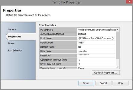 configure script execution activity