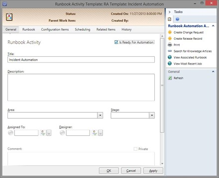 Configure SCSM runbook activity template