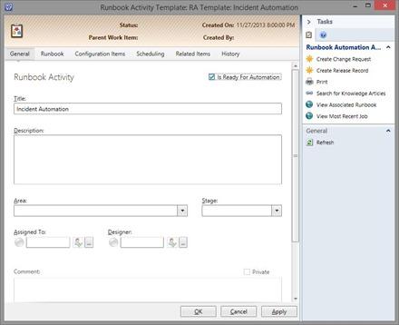 Configure SCSM runbook activity template